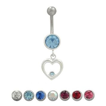 Sterling Silver Dangling Heart Centered CZ Design Belly Button Ring 14ga