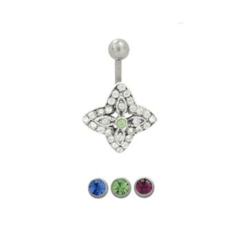 14 gauge Belly Button Ring Surgical Steel with Sterling Silver Flower Shape with Jewels