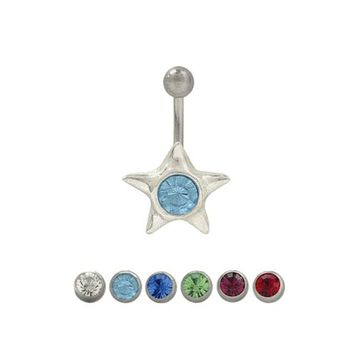14 gauge Belly button ring surgical steel with sterling silver star design and jewel