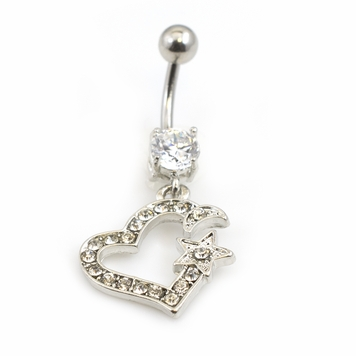 Belly Button Ring with a Heart Featuring a Star and Moon with Multiple CZ Gems 14G