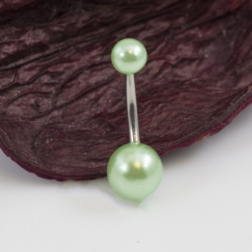 Belly Button Ring with Faux Synthetic Pearl Acrylic Designed Balls 14ga 3/8 inches- 10mm