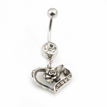 Belly Button Ring with Heart and Flower Design Dangle 14g
