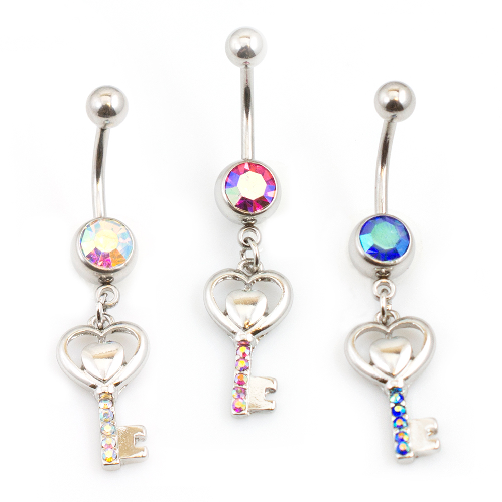 Belly Button Ring with Key & Heart Dangle Design CZ Gems 14Ga