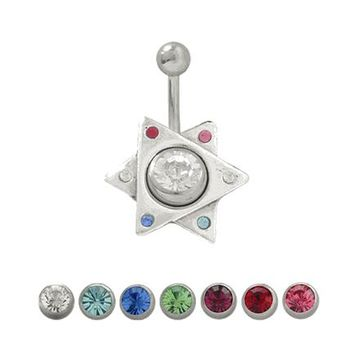 14G Belly Button Shield Surgical Steel Shaft with Sterling Silver Star of David Shield