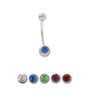 Belly Ring 18 Gauge Surgical Steel with Jewel