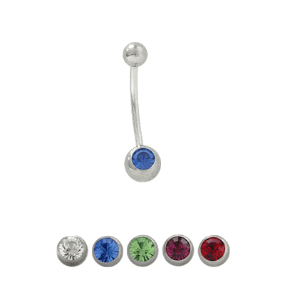 18 Gauge Belly Ring Surgical Steel Body Jewelry With Jewel