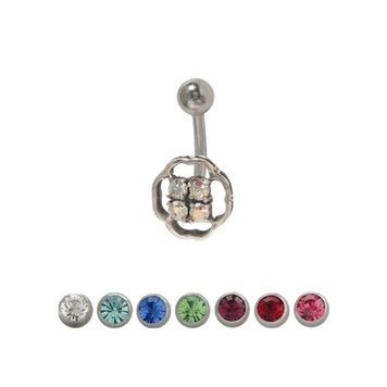14 gauge Belly Ring Surgical Steel with Jewels