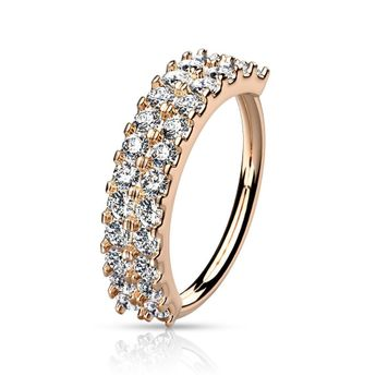 Bendable Nose and Ear Hoop Double Lined CZ Half Circle 20ga- Sold Each