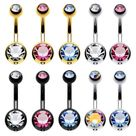 Pack of 10 Belly Button Rings Double Multicolor CZ Stainless Steel 14ga
