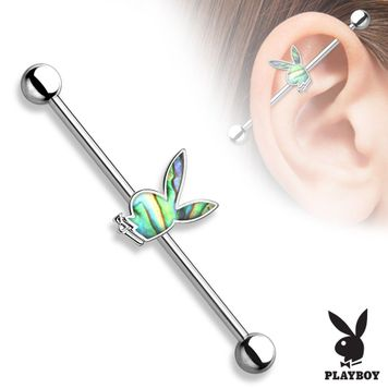 Playboy Bunny Abalone Inlaid Industrial Barbell 14ga 316L