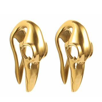 Ear Weights Bird Skull Design Ion Gold Plated Surgical Steel  1/2-12mm - Sold as a Pair