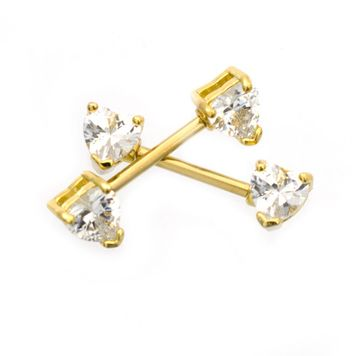 Pair of  Nipple Barbells with Heart Shape Cubic Zirconia Gold IP 14ga