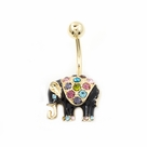 Black Enamel Elephant Design Belly Button Ring Multiple CZ Gems 14g
