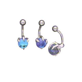 Belly Ring 316L Surgical Steel with Semi-Precious Stone and Sterling Silver Claw