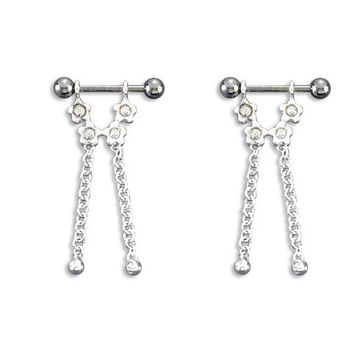Pair of  316L surgical steel with serling silver  Half-shield dangling design, Barbell Nipple ring w/ Half-shield
