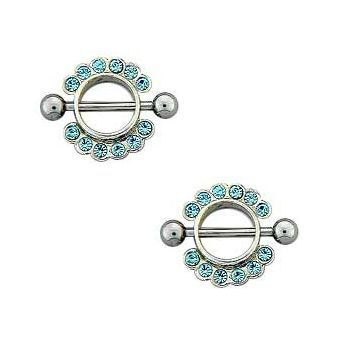 Pair of 316L surgical steel with shield, Barbell Nipple ring w/ Shield 14g