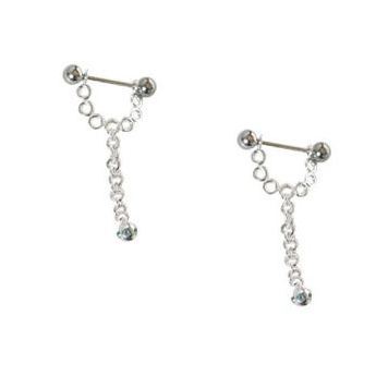 Pair of  316L surgical steel with sterling silver Half-shield dangling design 14g