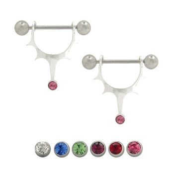 Pair of  316L surgical steel with sterling silver half-shield design, Barbell Nipple ring w/ Half-shield