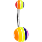 Rainbow Stripe UV Acrylic Belly Button Ring 14ga
