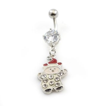 Boy with Christmas Hat Dangle  Belly Ring - 14ga
