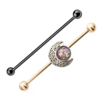 Rose Gold Industrial Barbell with Opal and Moon Charms 14ga +Black IP Industrial Barbell