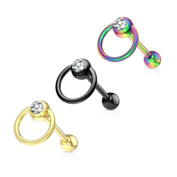 Clear Gem with Slave Ring PVD over  Surgical Steel Barbell Tongue Ring 14ga Sold Each