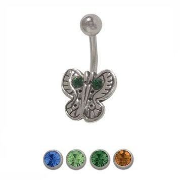 14 gauge Butterfly Belly Button Ring with Jewel