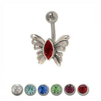 14 gauge Butterfly Belly Ring Surgical Steel with Jewel