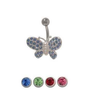 14 gauge Butterfly Belly Ring with CZ Jewels