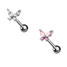 Pack of 2 Butterfly CZ Prong Straight Barbells Surgical Steel 14ga