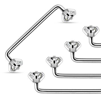 Internally Threaded Staple Surface Barbell with Prong Set Clear CZ 14ga