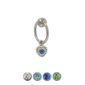 14 gauge Captive Bead Belly Ring with Dangling Heart