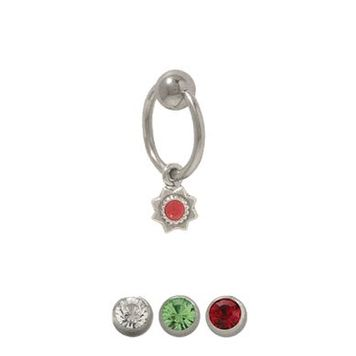 14 gauge Captive Bead Belly Ring with Dangling Star