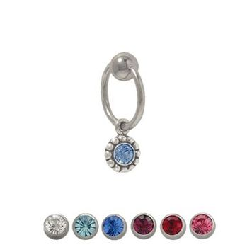 14 gauge Captive Bead Belly Ring with Sterling Silver Dangling Design