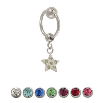 14 gauge Captive Bead Belly Ring with Sterling Silver Star
