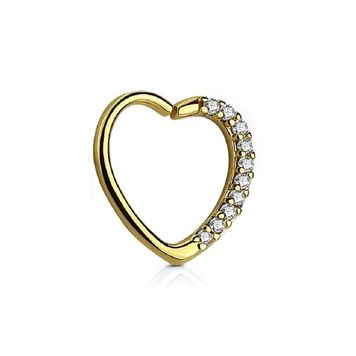 Heart Shape Bendable Cartilage Hoop Paved with Multiple CZ  Daith ,Tragus, Rook 16ga Surgical Steel - Left Ear or Right Ear