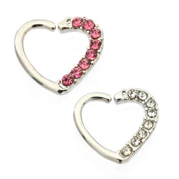Heart Shape Bendable Cartilage Hoop Paved with Multiple CZ  Daith ,Tragus, Rook 16ga Surgical Steel - Left Ear
