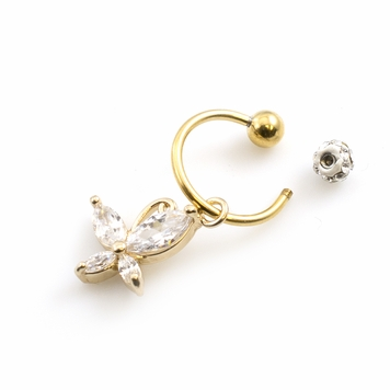 Cartilage/Tragus Ferido Ball Horseshoe with CZ Butterfly Dangle 16ga