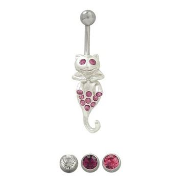 14 gauge Cat Belly Button Ring Surgical Steel with Jewels