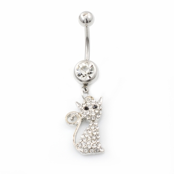 Cat Design 14ga Navel Ring with Clear Cz Jewels