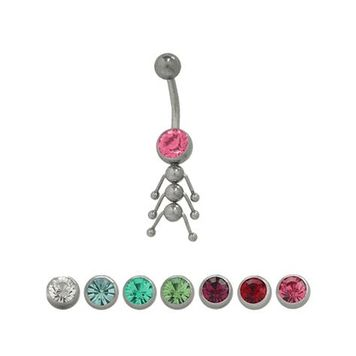 14 gauge Caterpillar Belly Button Ring with Cz Jewel