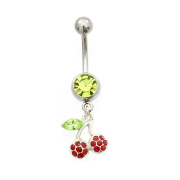 Cherry Dangling Design Green CZ Belly Button Ring 14ga Surgical Steel