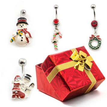 Pack of 4 Holiday Belly Button Rings with Gift Box #10