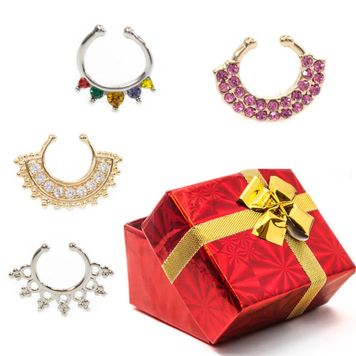 Pack of 4 Holiday Set Faux Septum Clips Multiple Designs