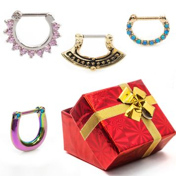 Pack of 4  Holiday Gift Set Septum Clicker with Gift Box