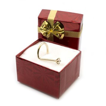 Holiday Gift Set- 14k Yellow Gold Nose Screw with 2 mm Genuine Diamond Jewel - 20ga-1/4 +Free Gift Box