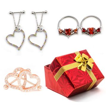 Pack of  3 Pairs of  Heart Designed Nipple Piercing Jewelry 14g- Gift Box Included