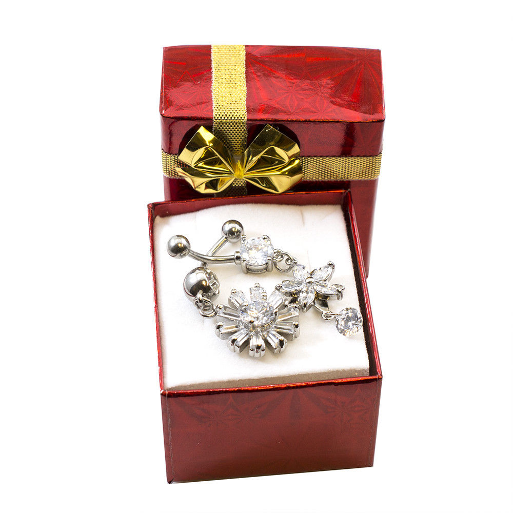 Fancy Holiday Belly Button Ring Set 2pcs Gift Box