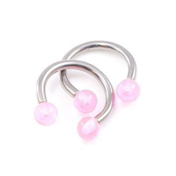 Holiday Gift Set-  Segment Ring, Pair of Acrylic Horseshoes and Captive Bead Ring 14G