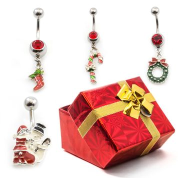 Pack of 4 Holiday Belly Button Rings with Gift Box #6